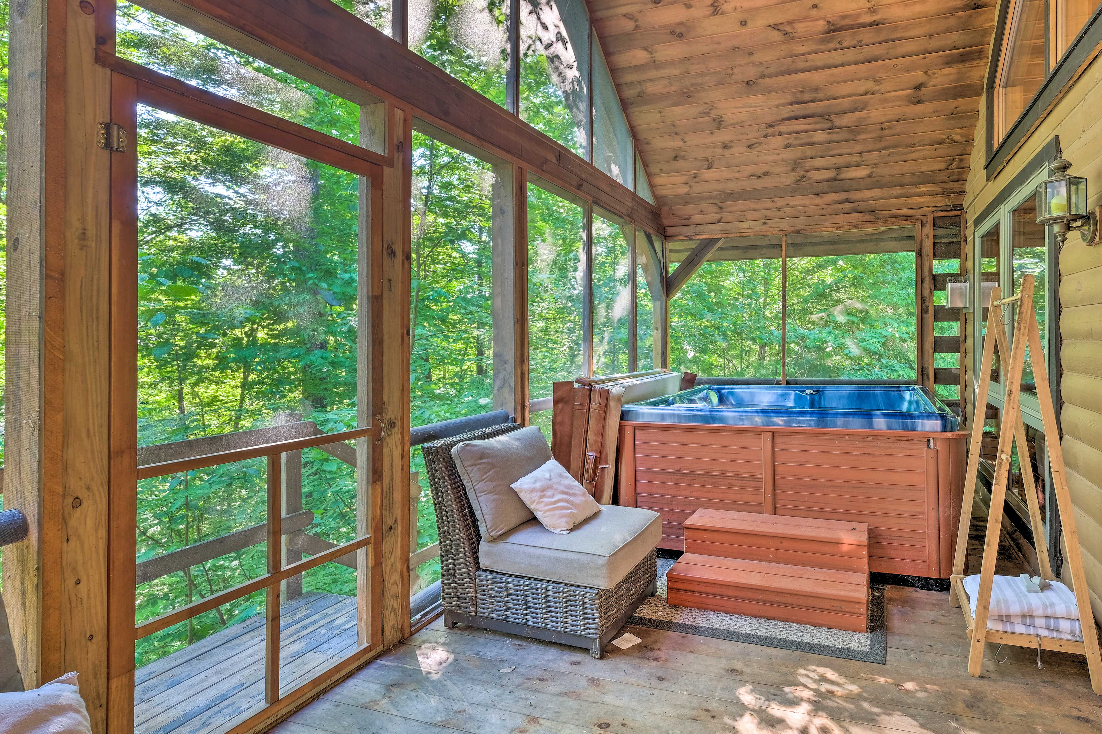 Soak in the hot tub to soothe sore muscles after hiking all day.