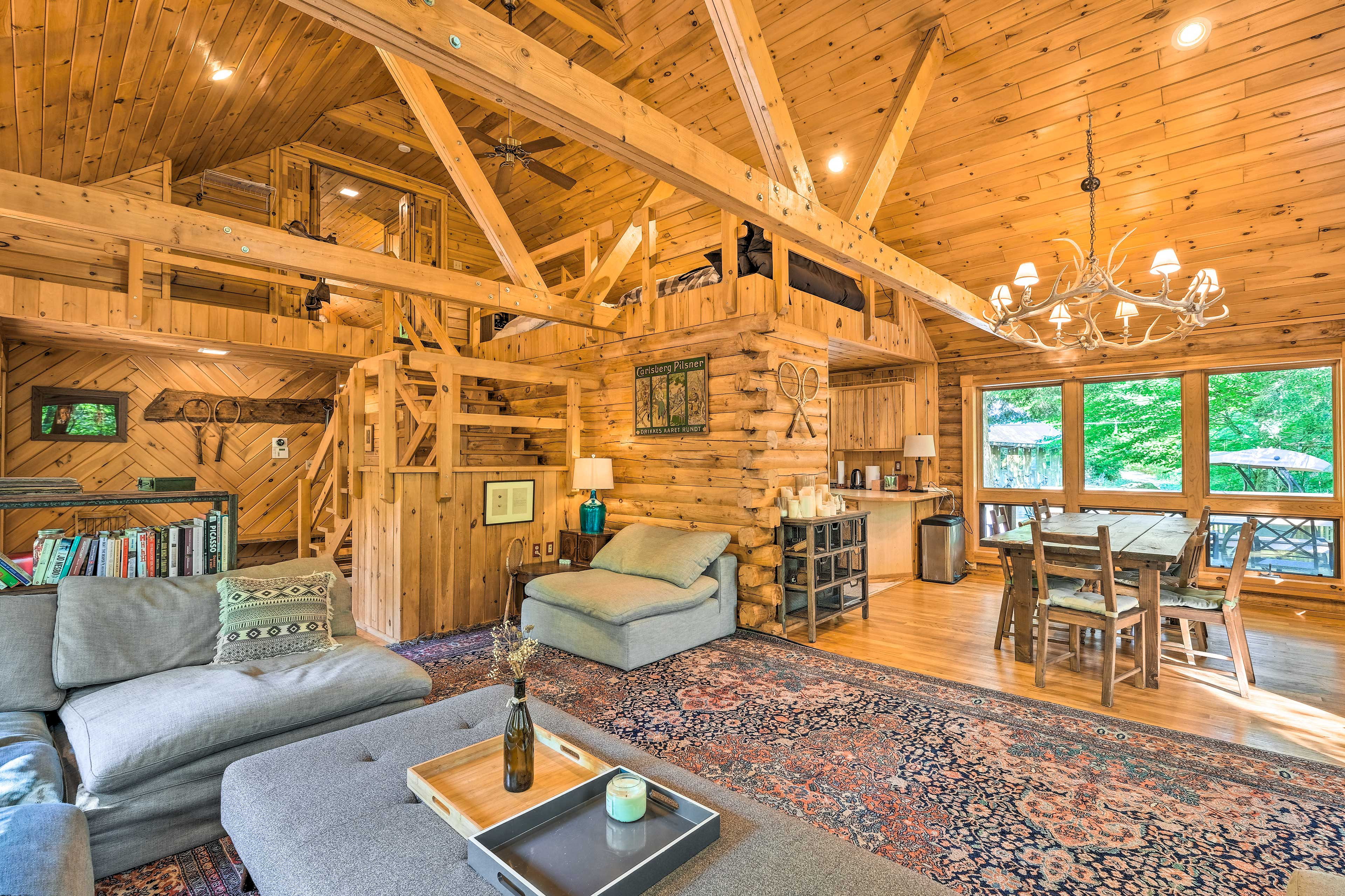 Escape to Warrensburg and stay at this luxurious 5-bed, 4.5-bath cabin.