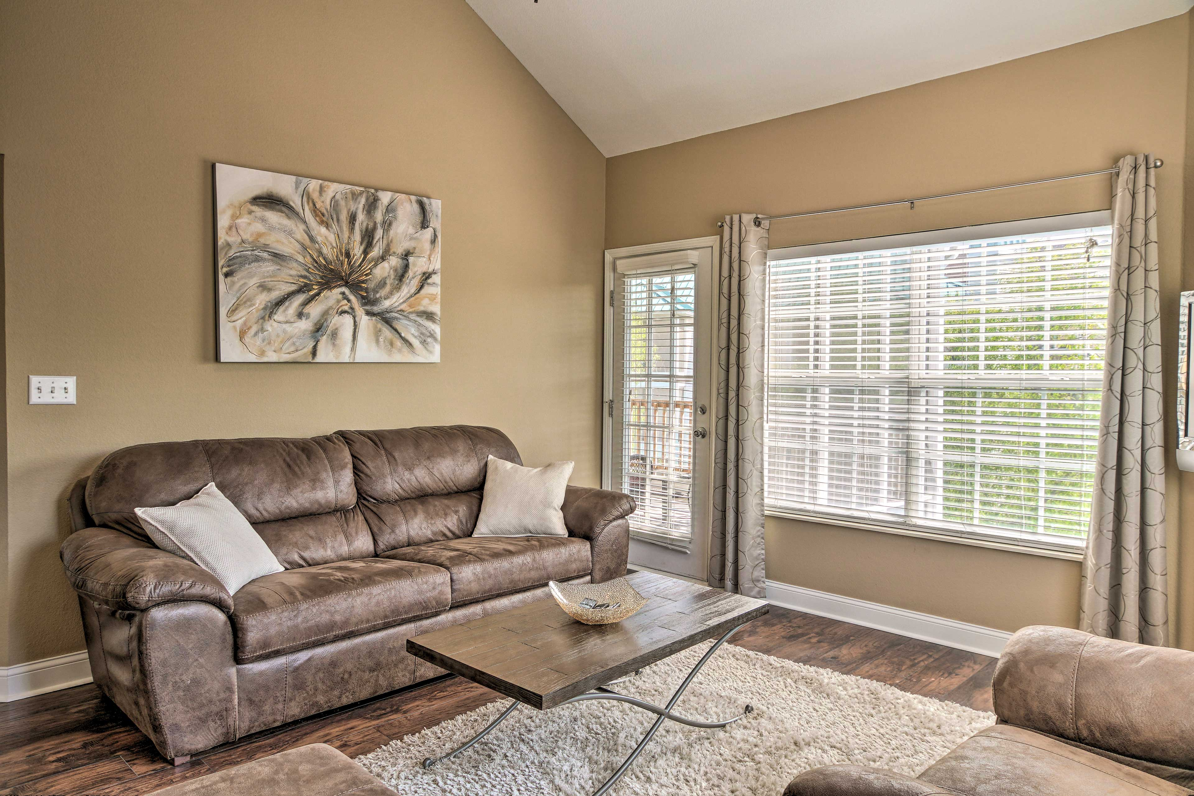 This sleeper sofa accommodates 2 guests.