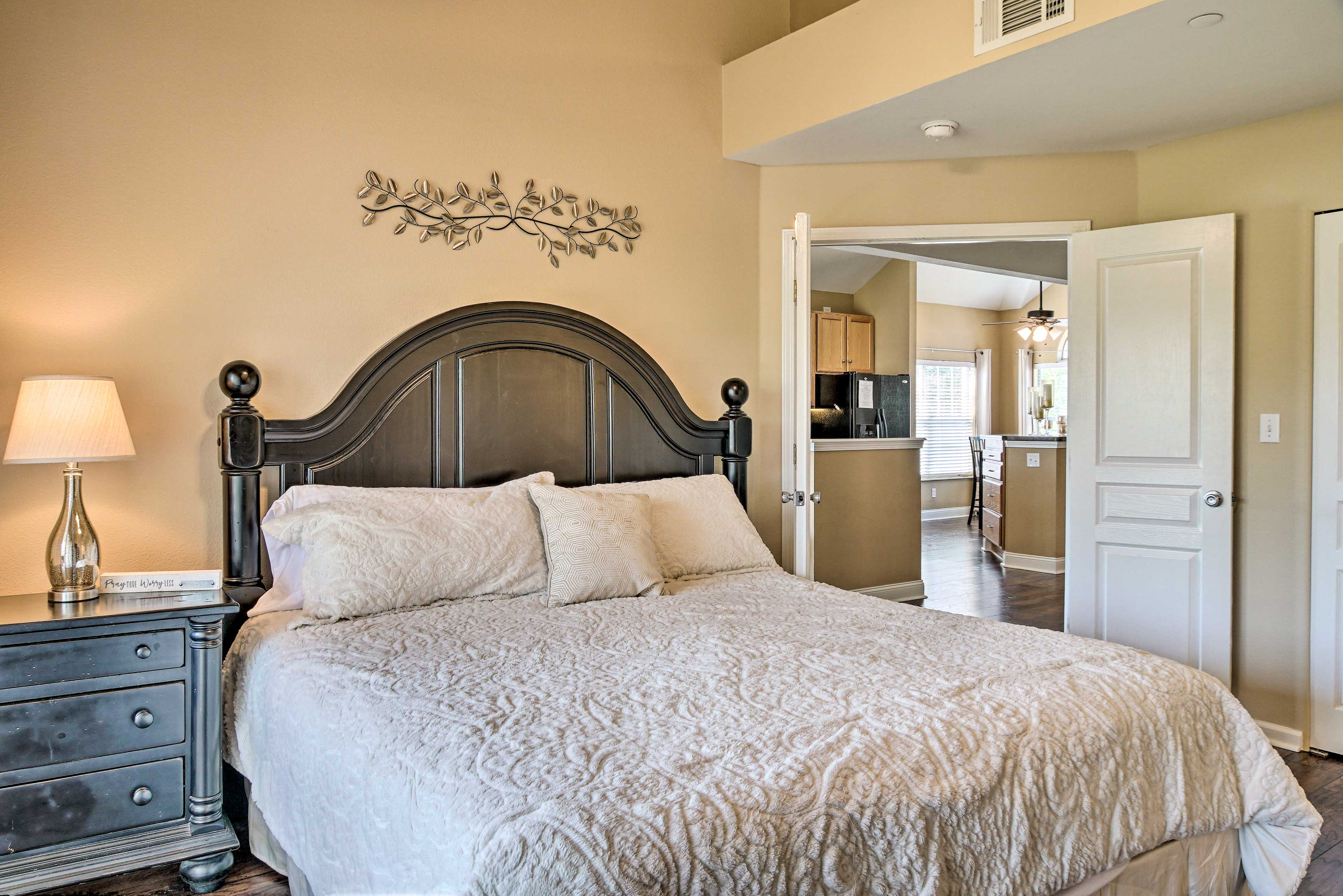 This king bed is located on the first floor and sleeps 2 guests.