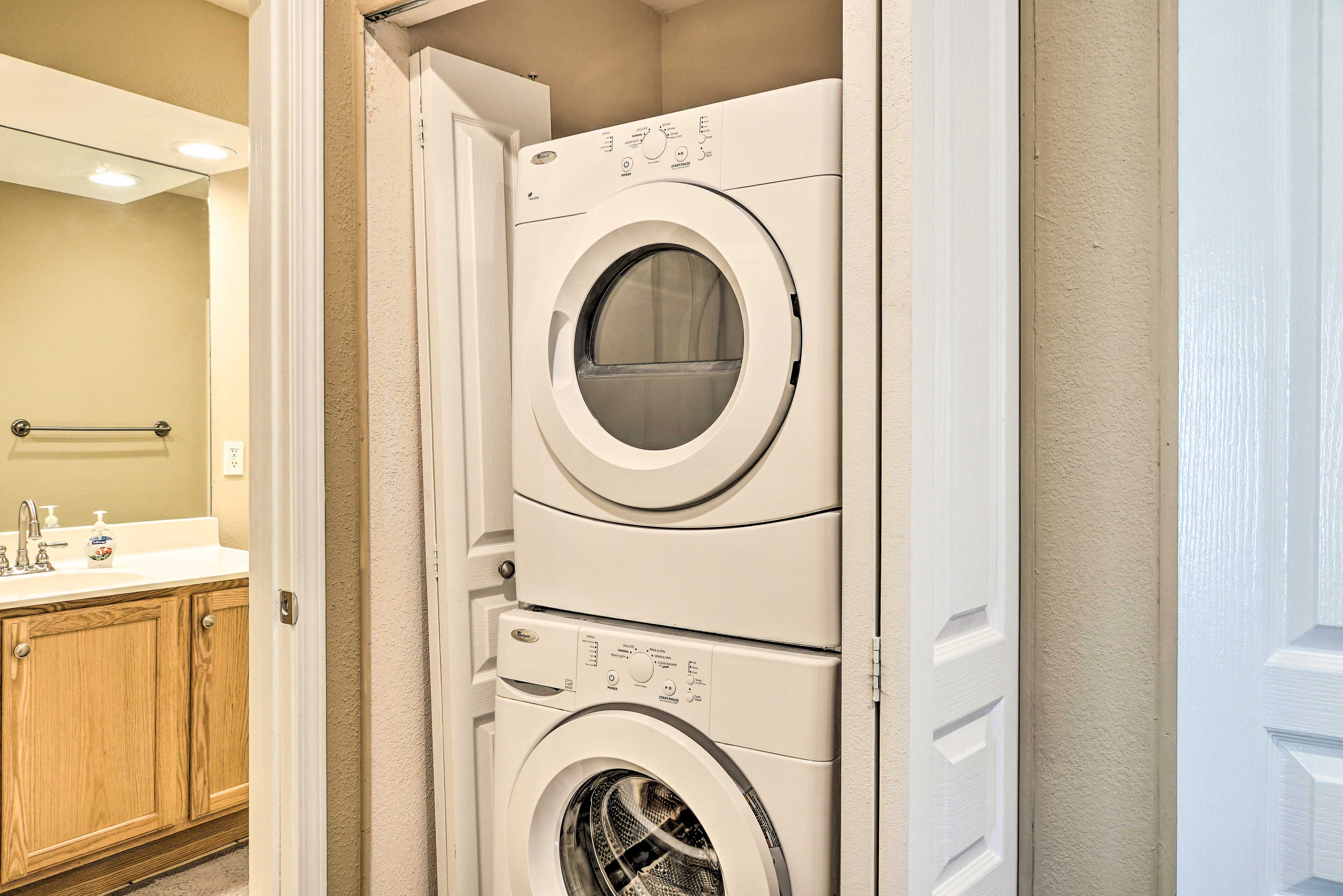 A washer and dryer are provided for your convenience.