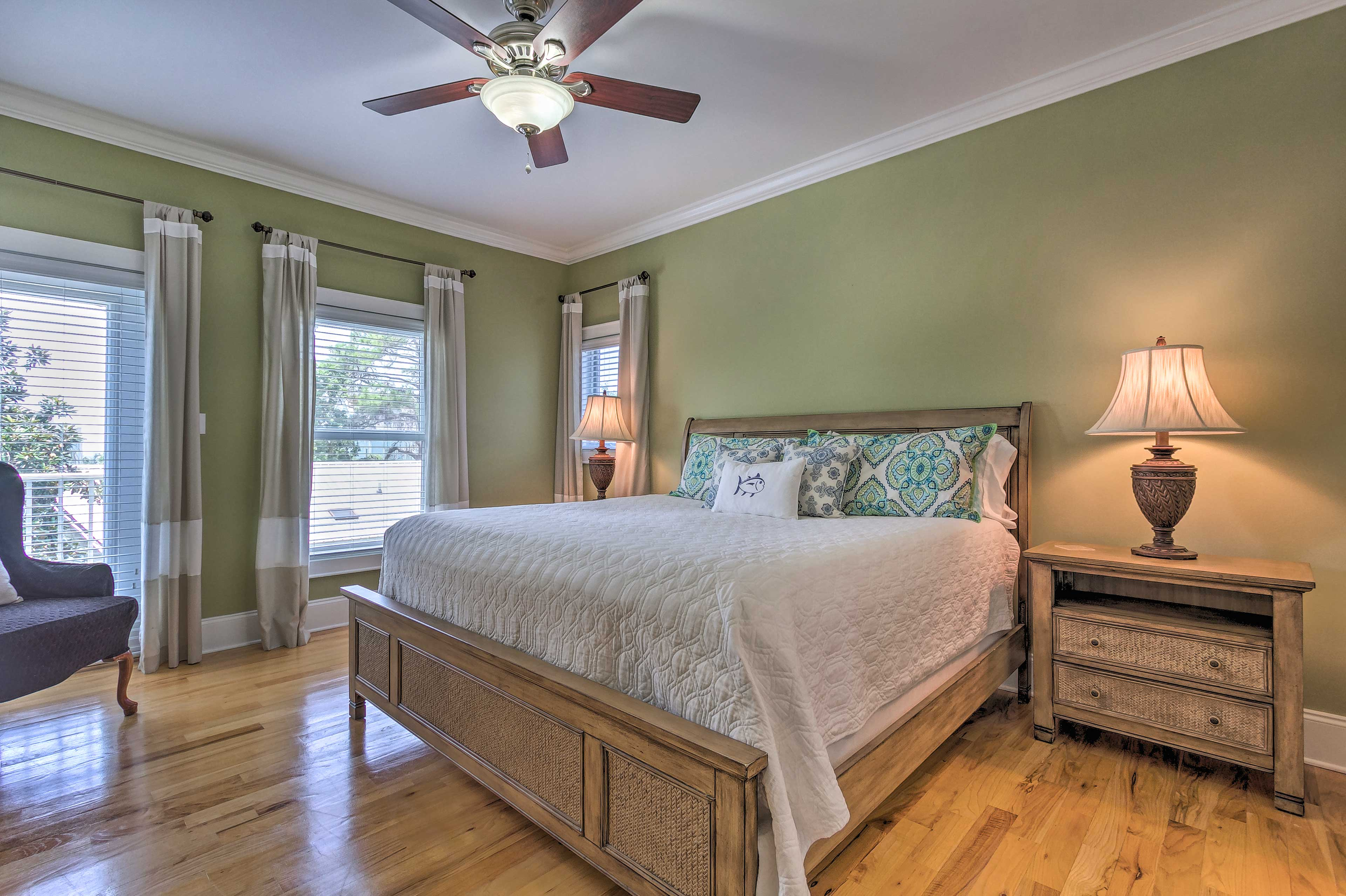 The second bedroom has a king bed for 2 guests.