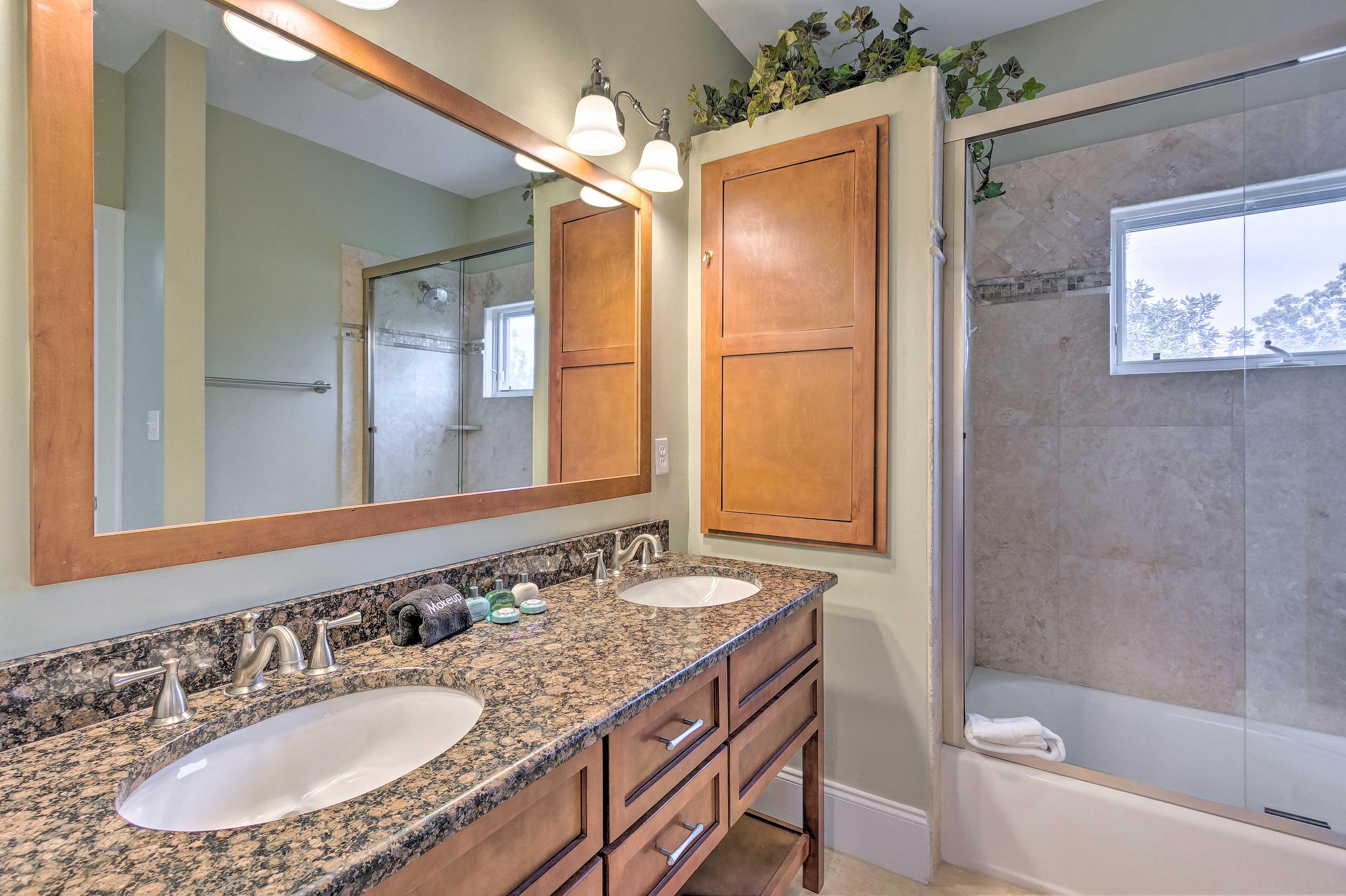 Dual sinks provide plenty of space to get ready for the night.