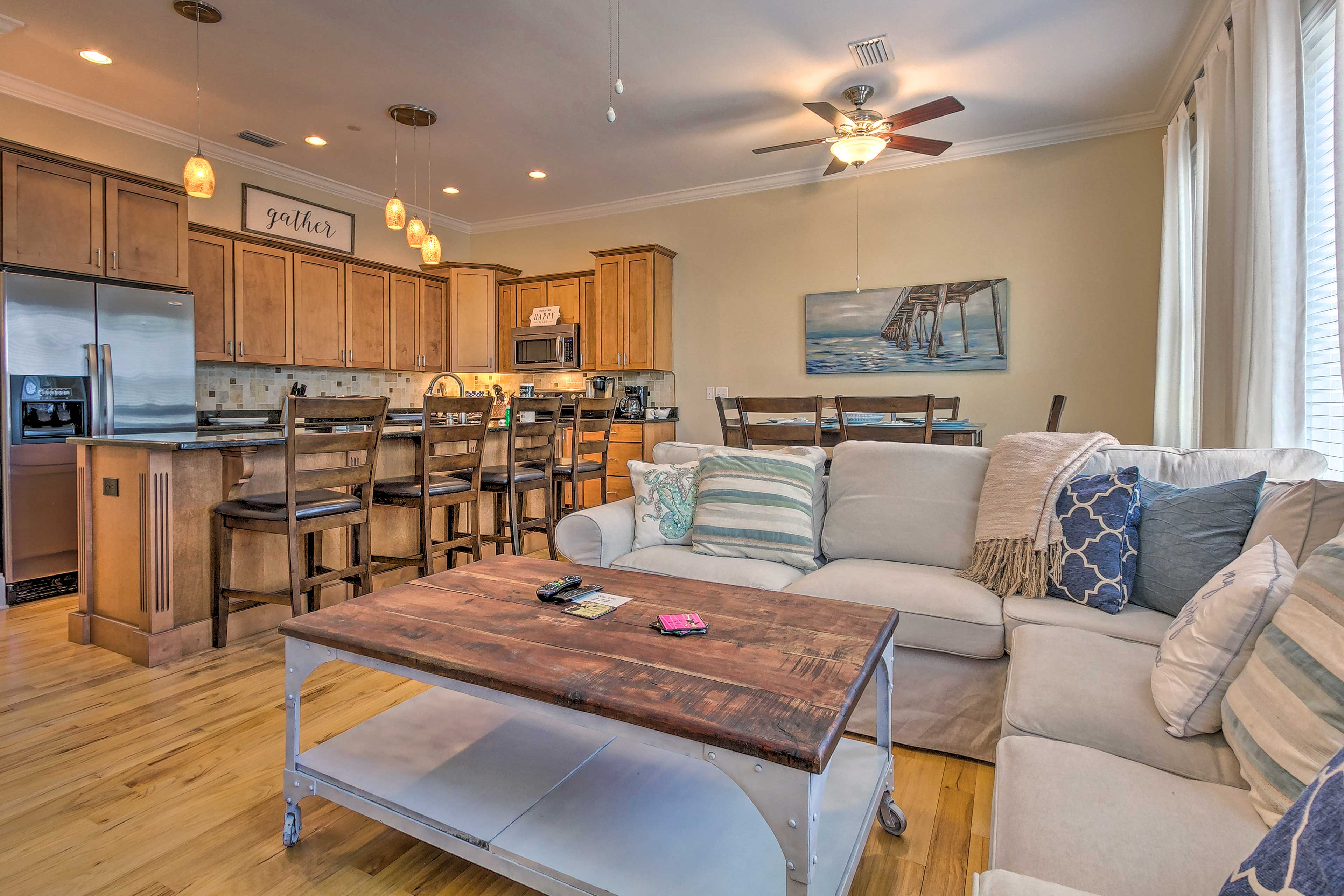 This open-concept layout is perfect for friends and family.
