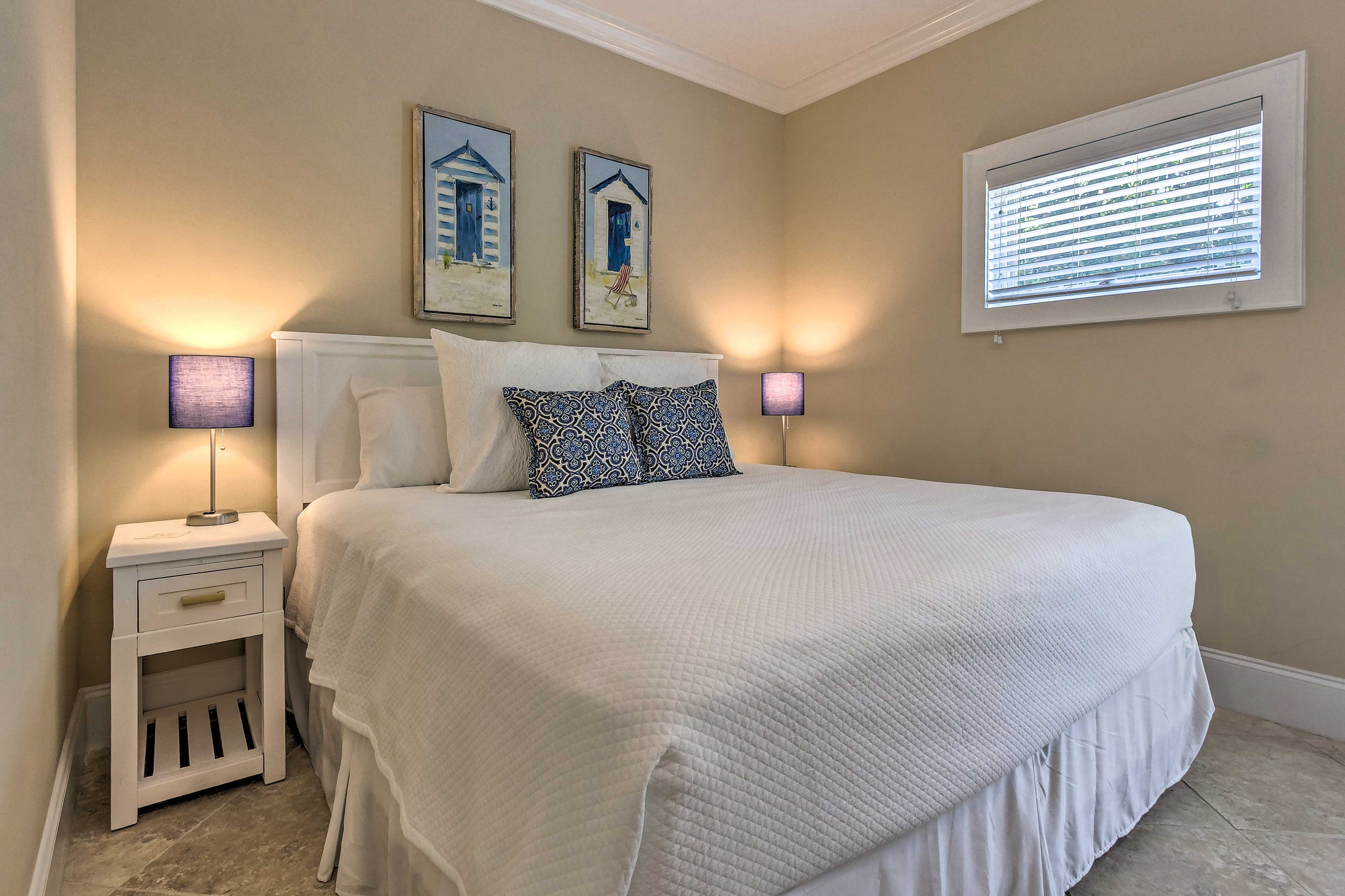 The fourth and final bedroom has a king bed and a sleeper sofa!