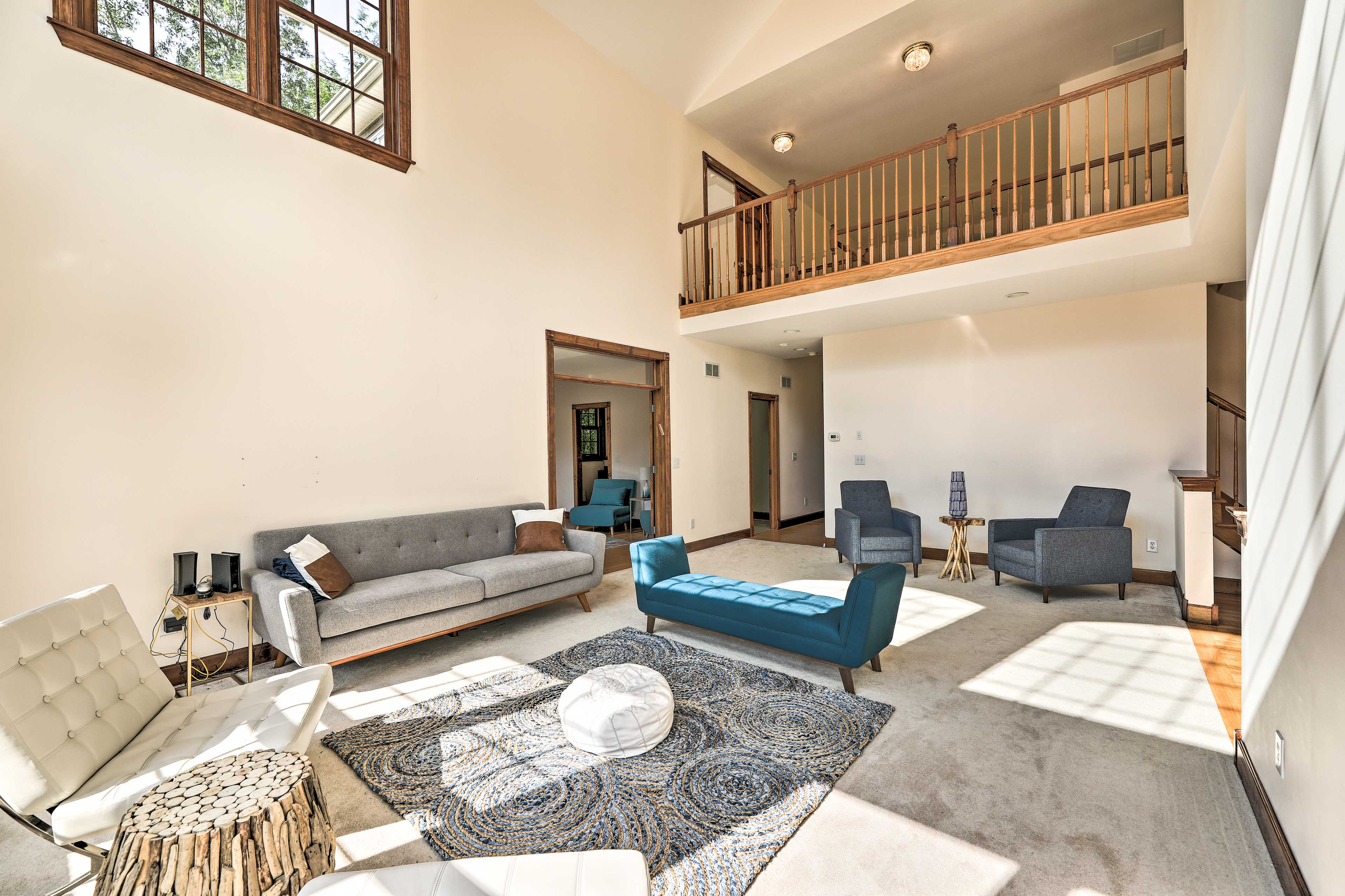 The loft overlook adds extra spaciousness to the interior.