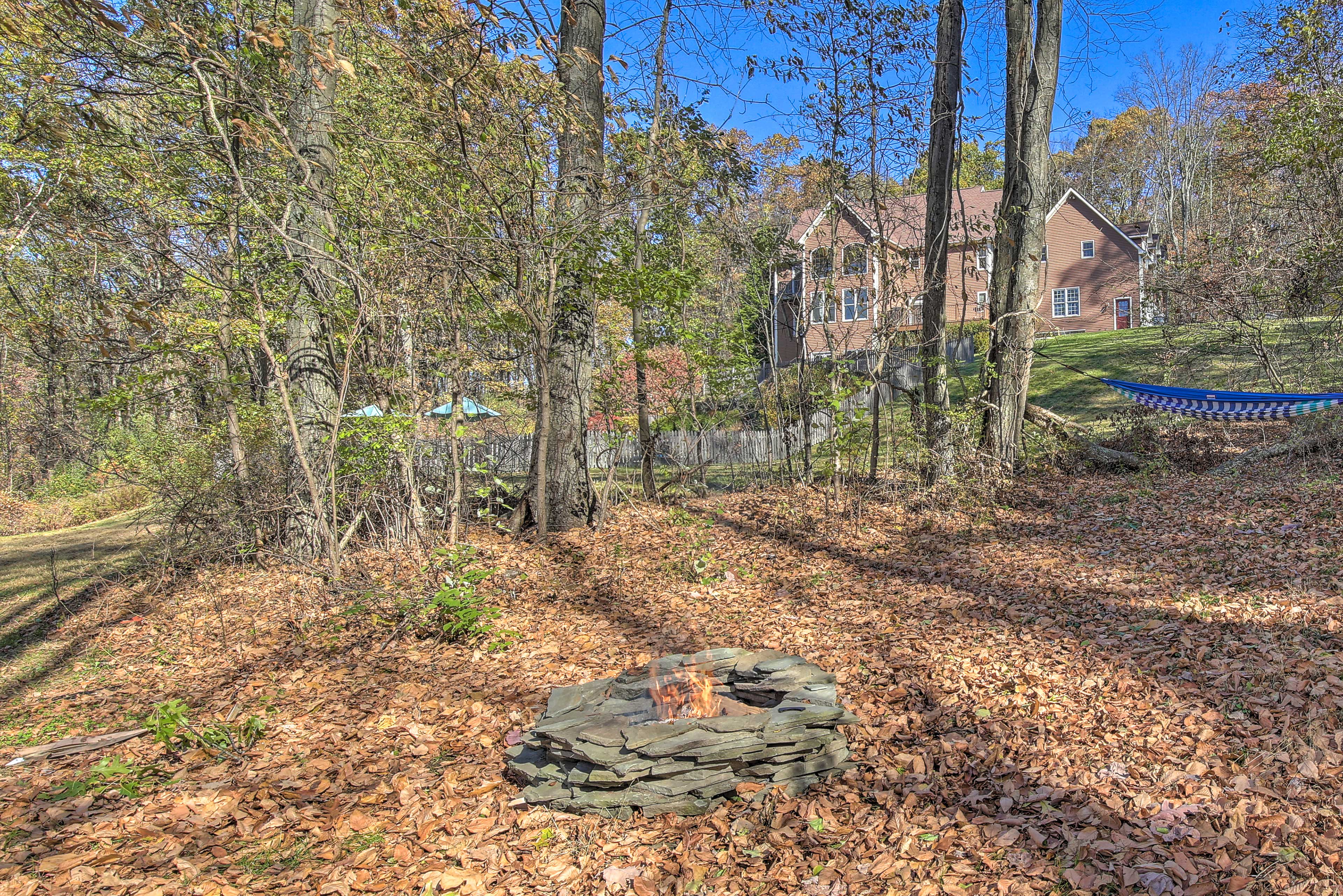 This secluded property also provides a fire pit & hammock.