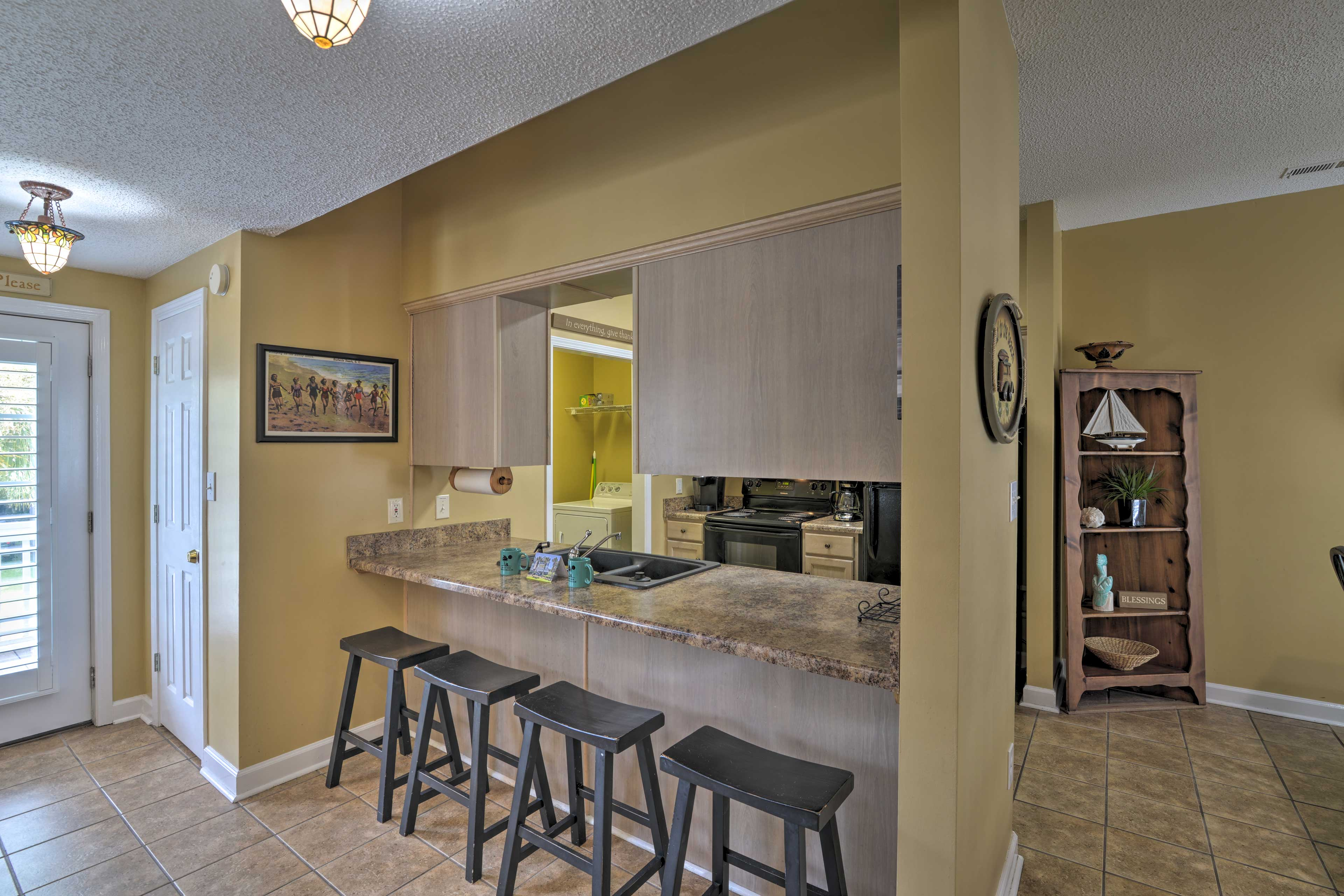 Sip morning coffee at the breakfast bar for 4.
