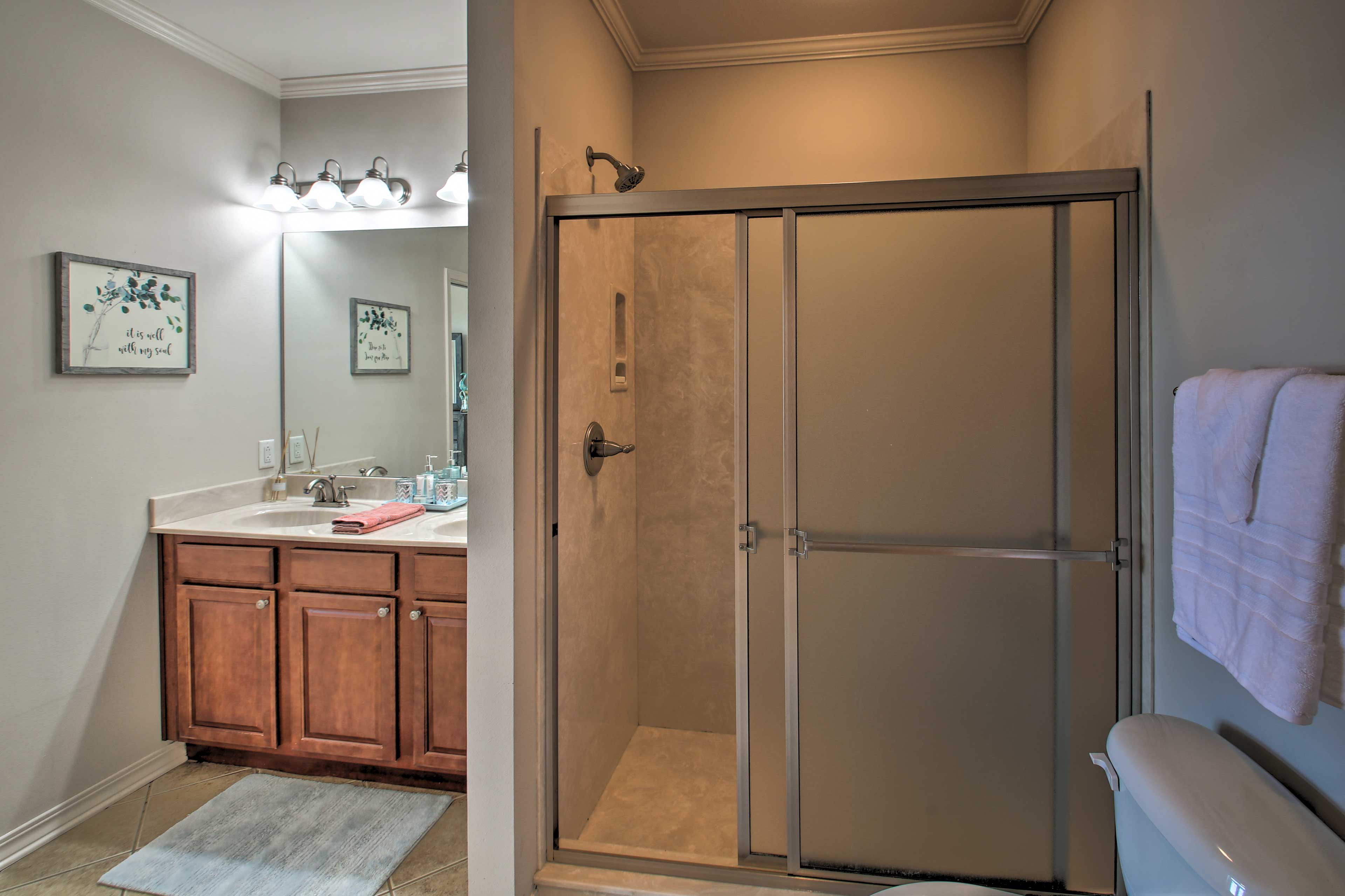 The spacious shower is easy to get in and out of.