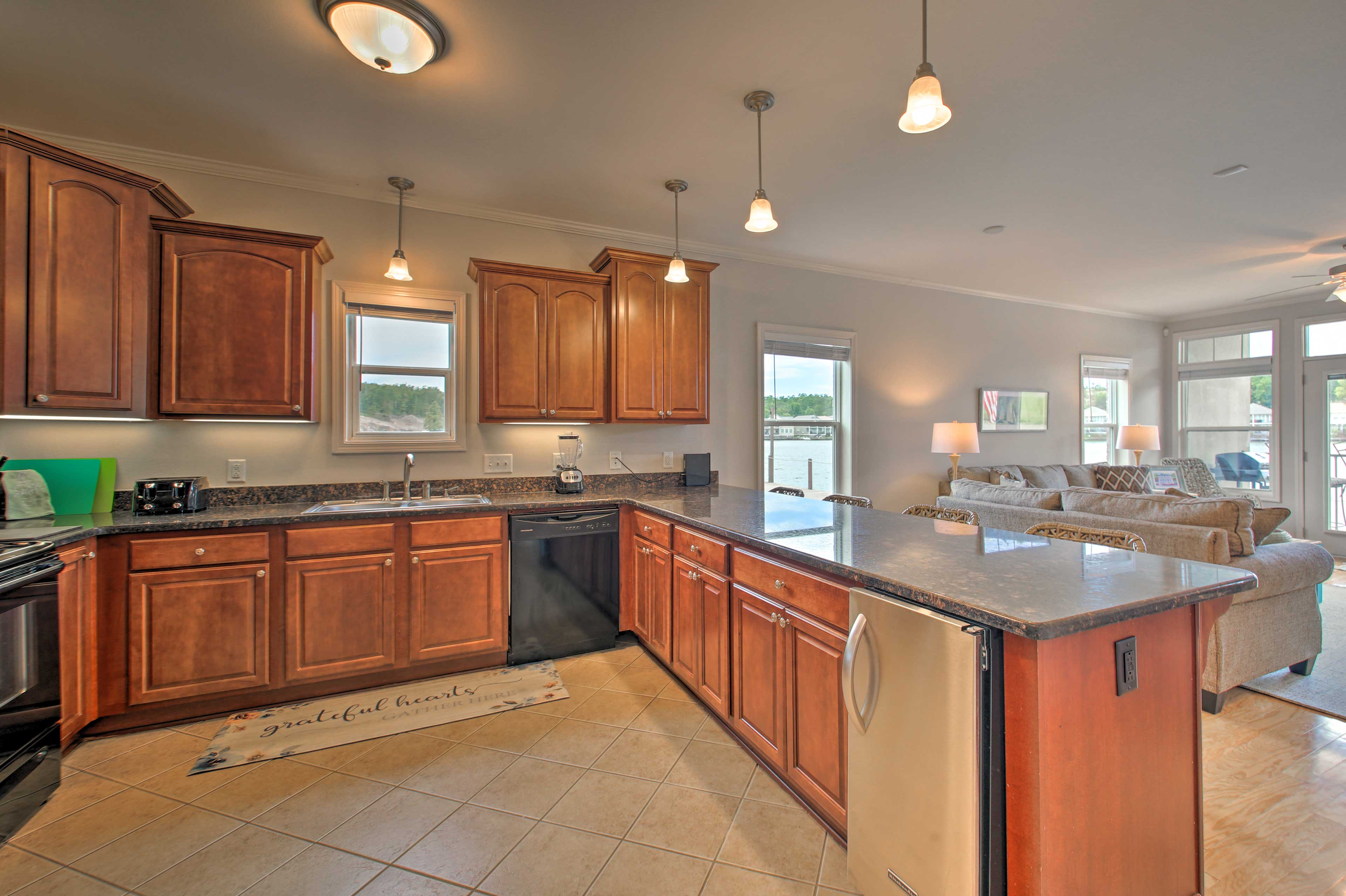There's ample counter space for you and your sous chefs to spread out.