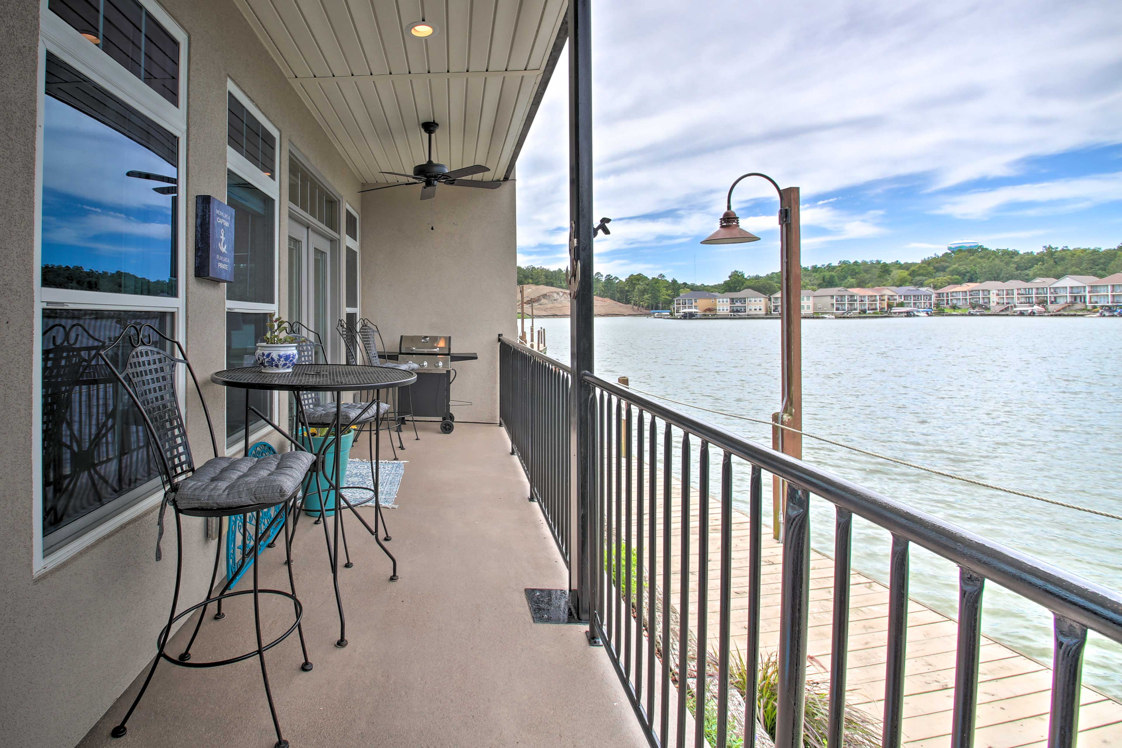 Sit out on the covered balcony with coffee in hand and take in the water views.