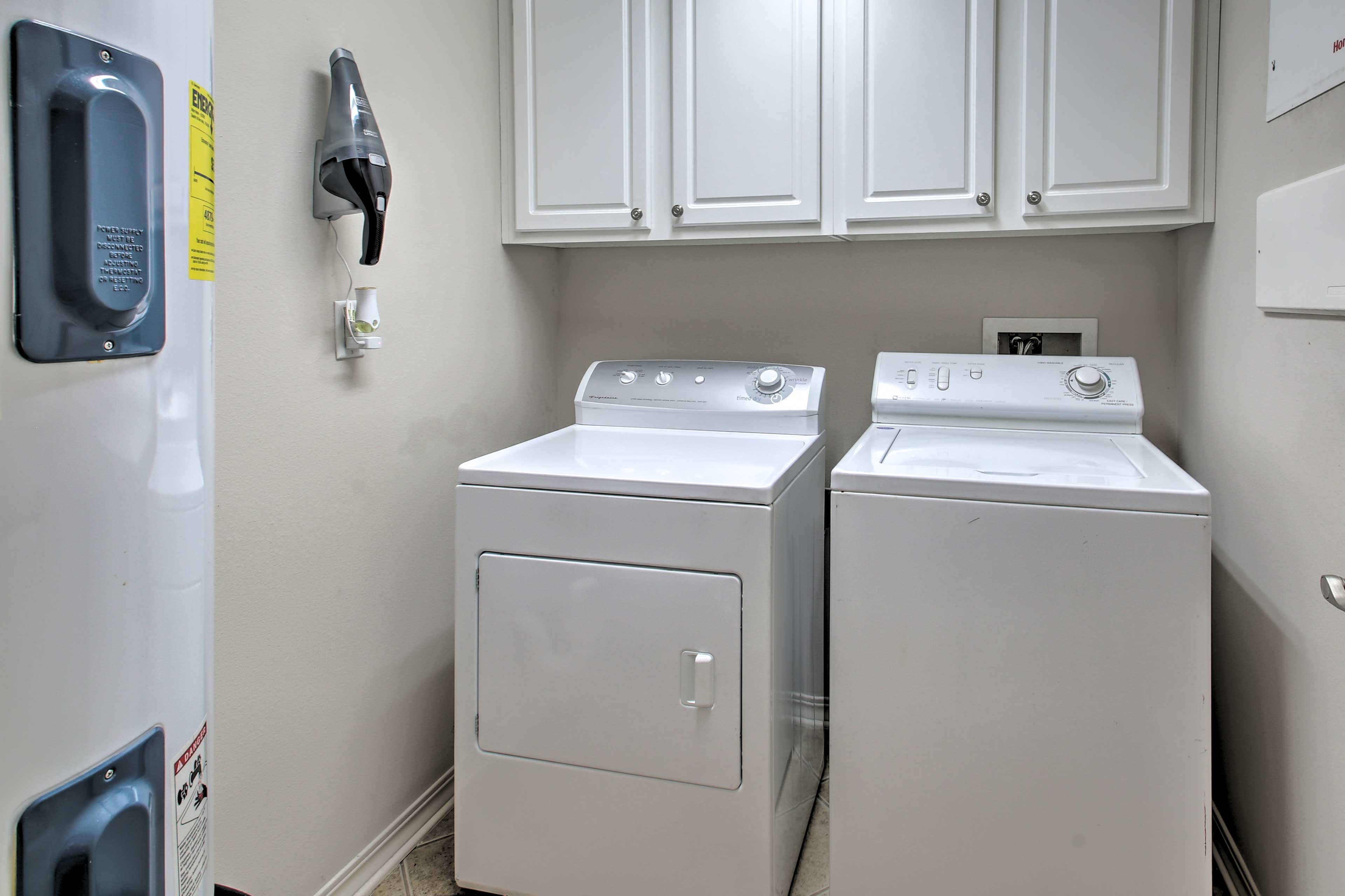 Throw in a load of laundry using the in-unit washer/dryer.