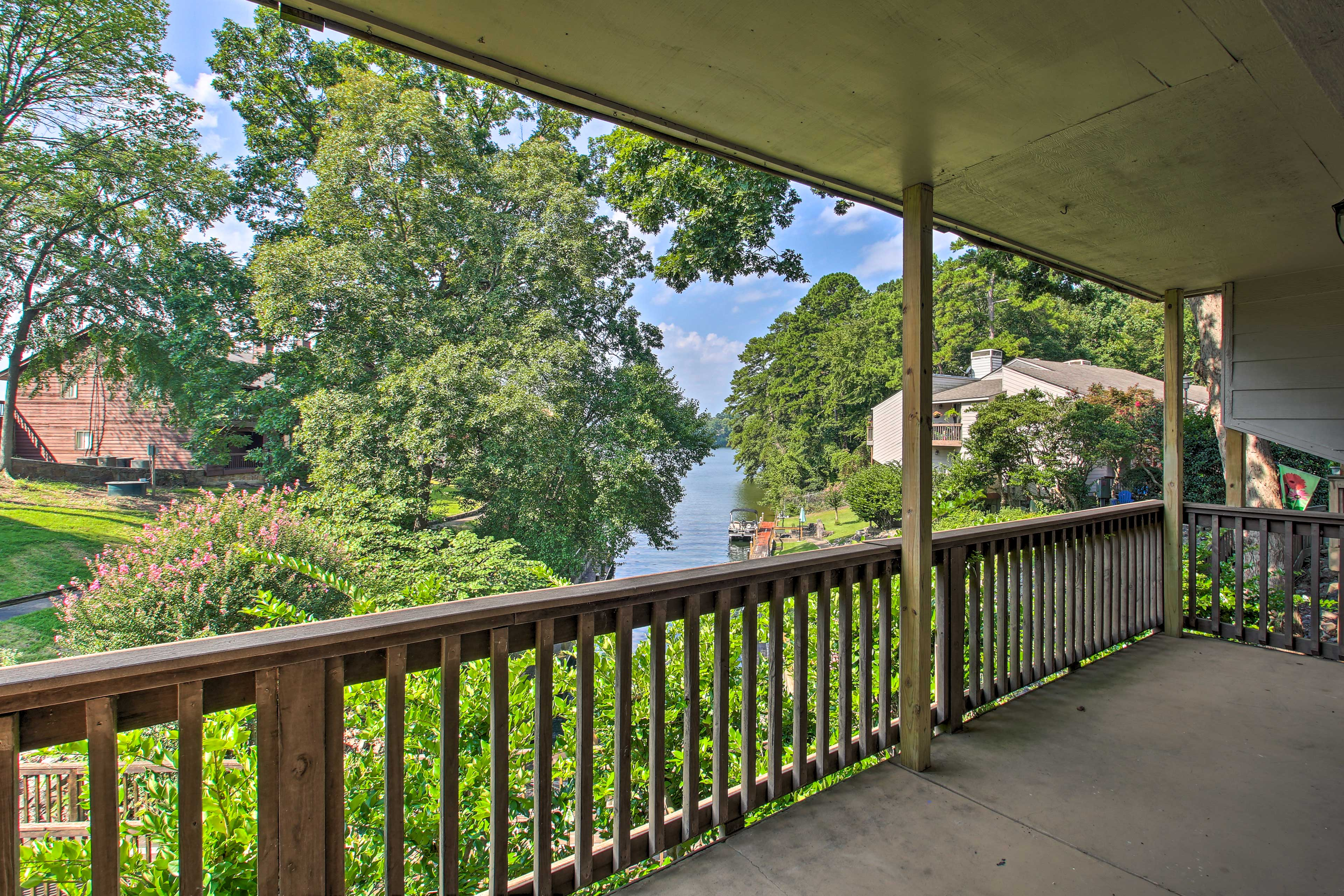 Admire lake views from the covered balcony.