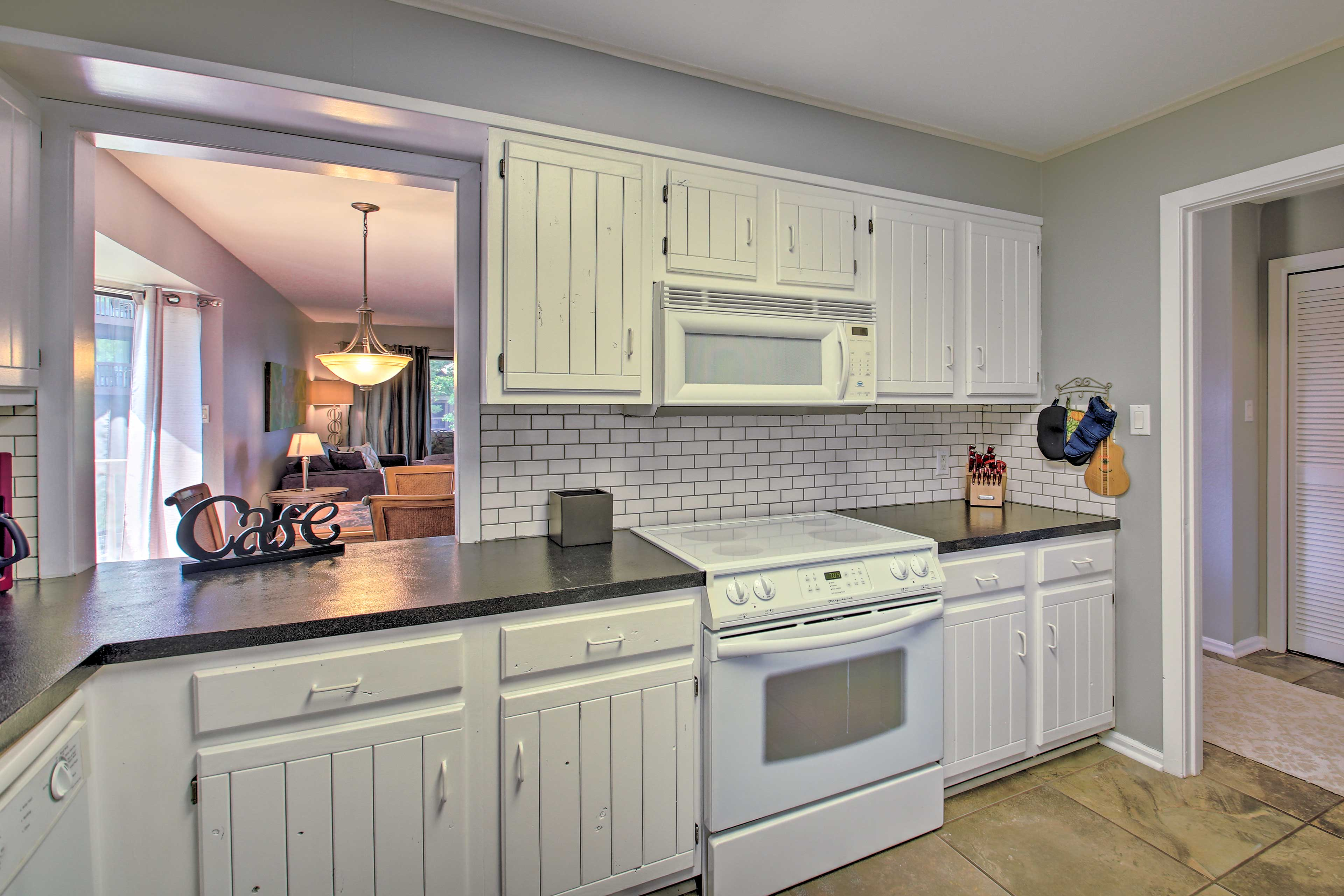 There is ample counter space for  meal prep available.