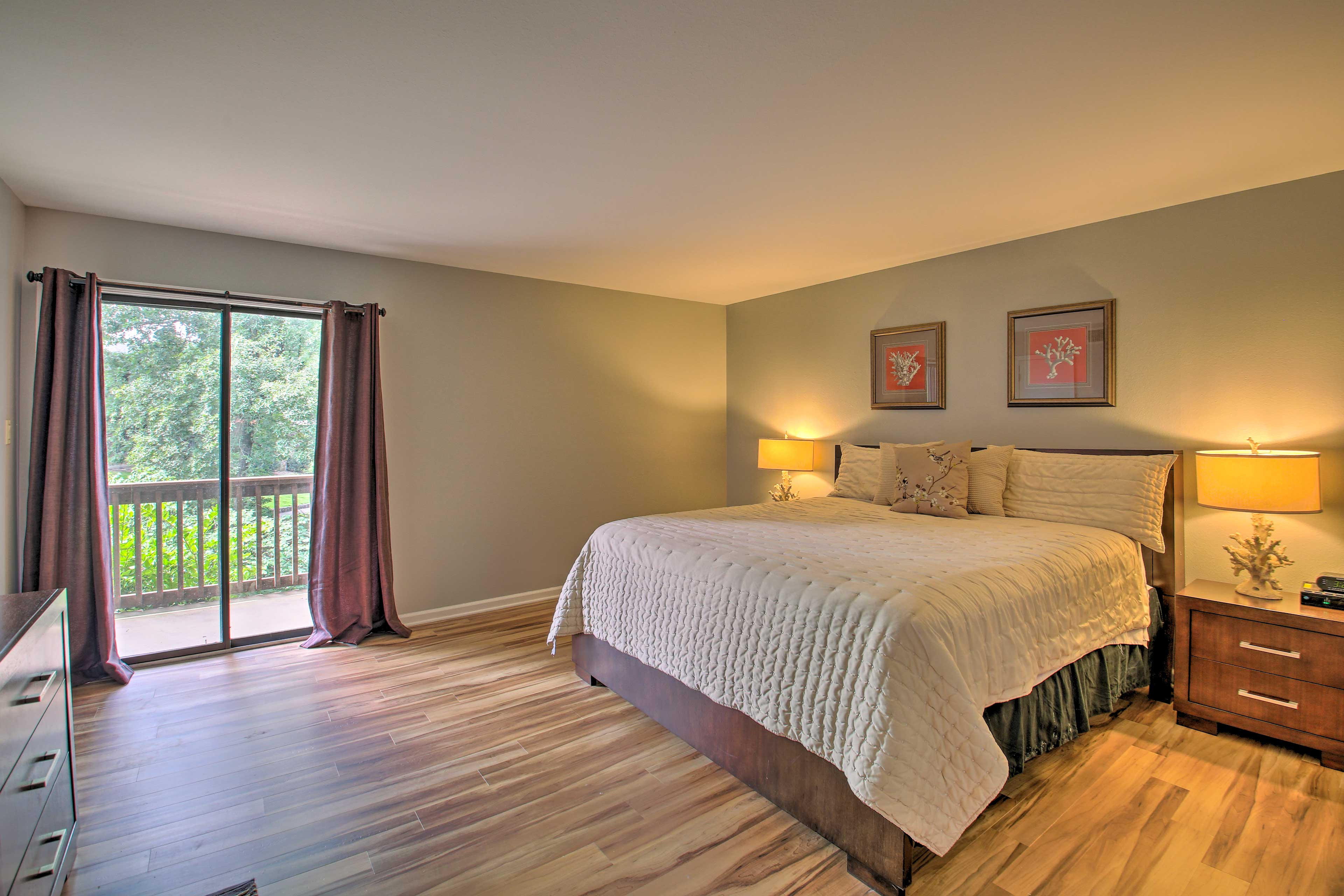 The condo offers 2 bedrooms.