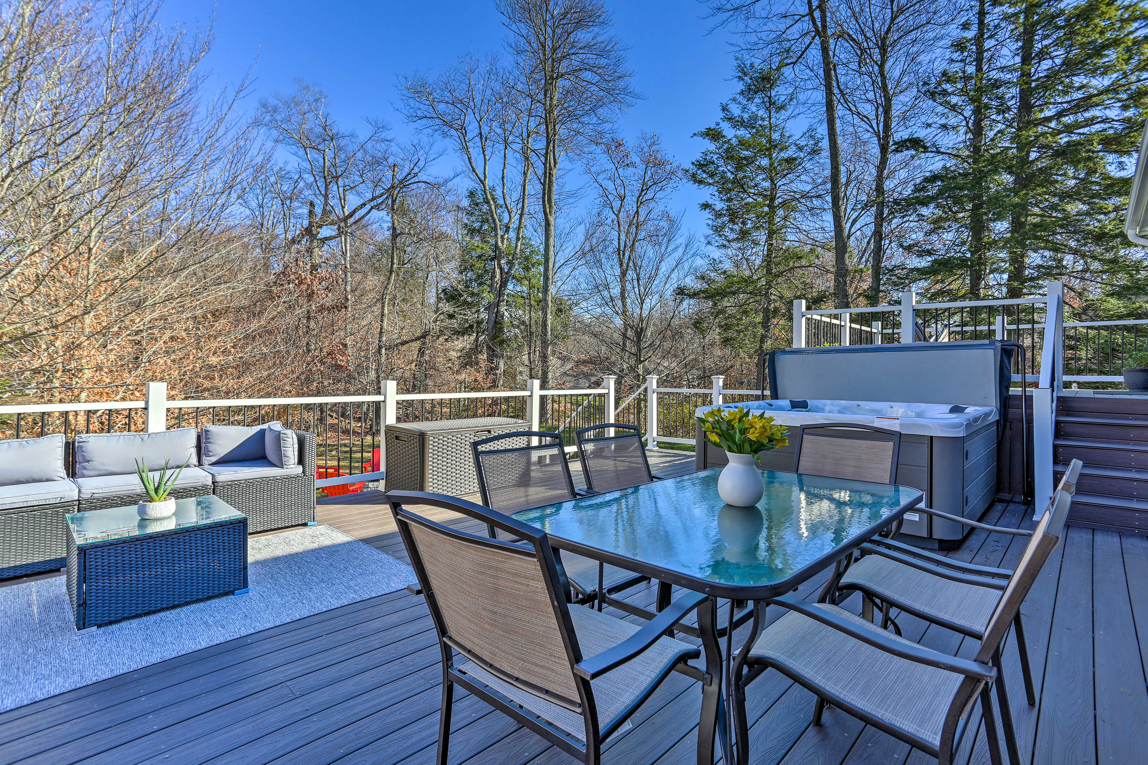 Outdoor Entertaining Space | Private Hot Tub | Living/Dining Areas