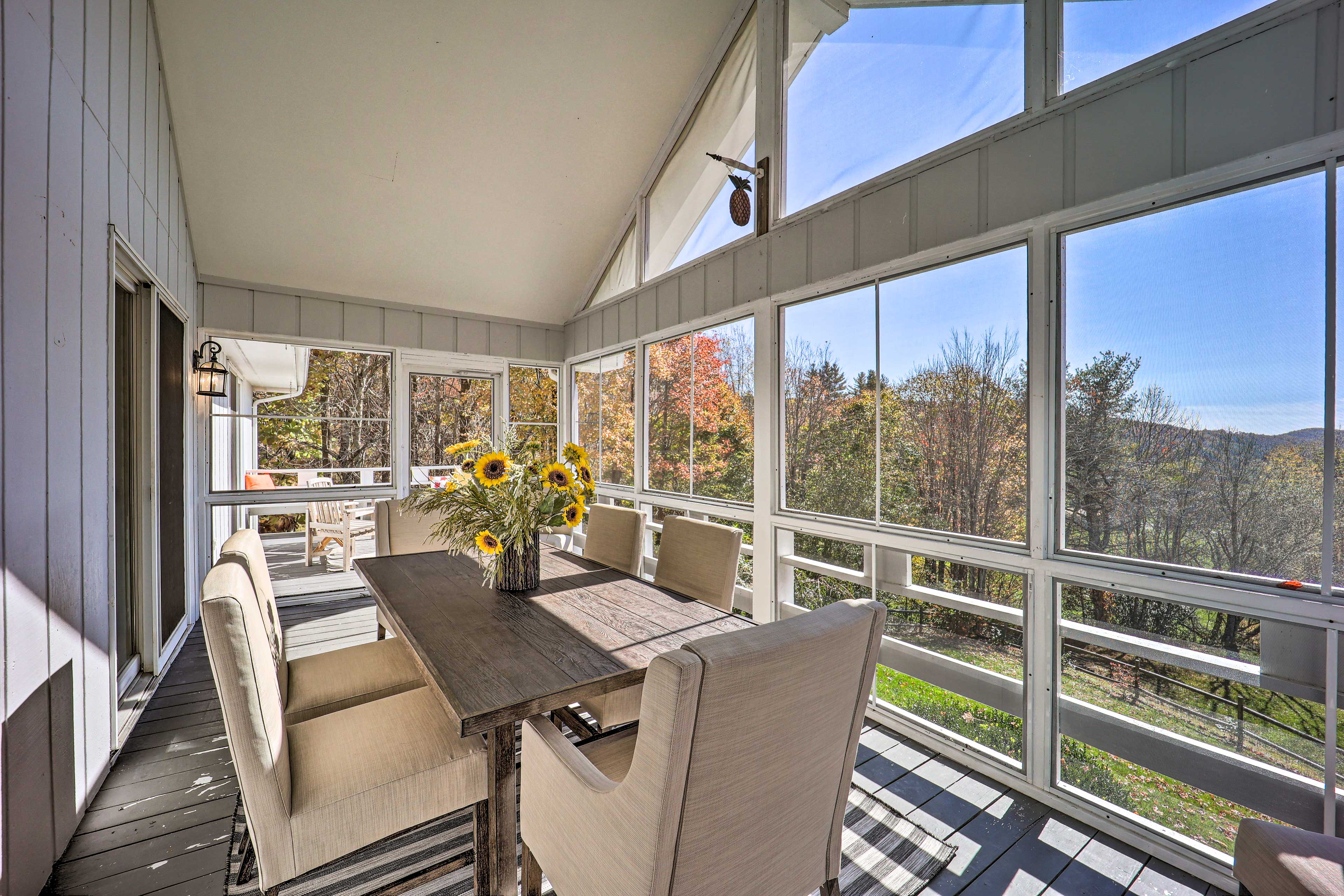 Screened-In Porch | Blue Ridge Mountains Views