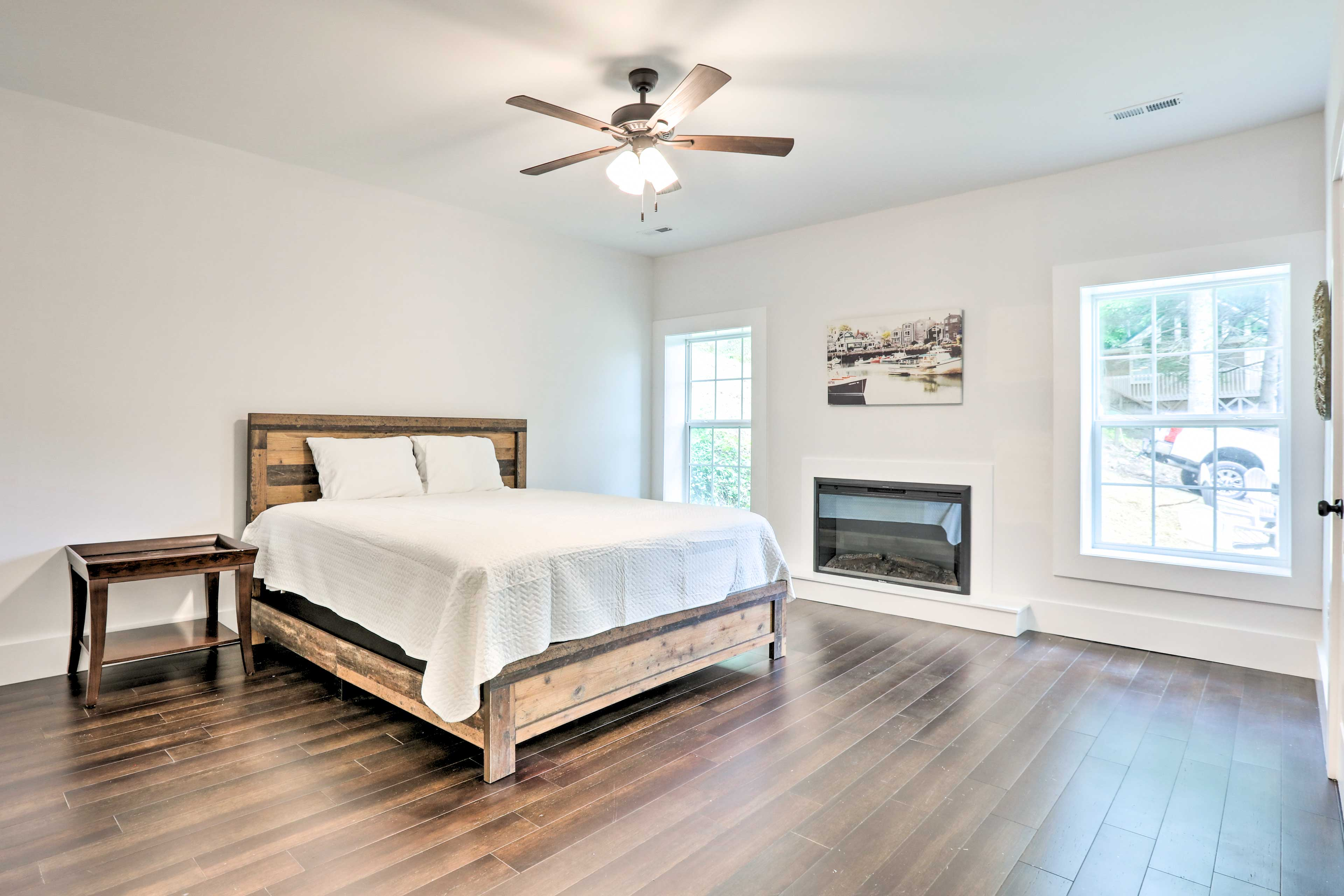 Bedroom 1 | King Bed | Electric Fireplace