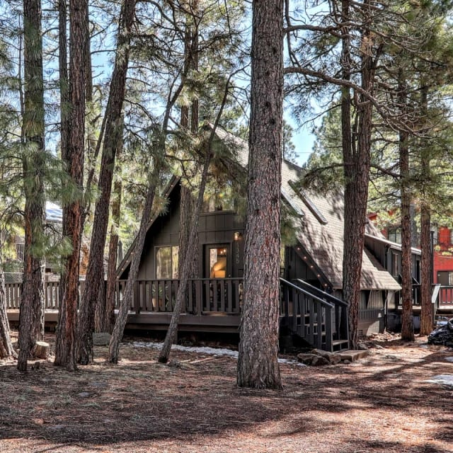 A-Frame vacation rental cabin in the woods of Munds Park, Arizona