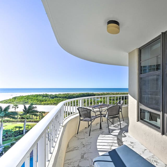 Balcony overlooking the ocean at a Naples, Florida vacation rental