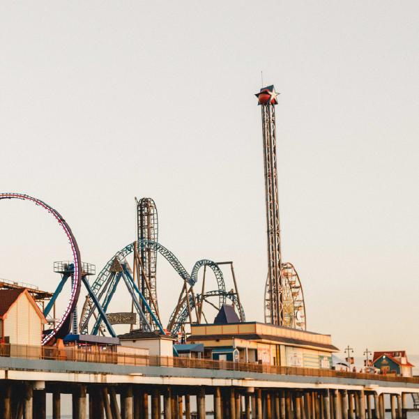 View of Pleasure Pier amusement park in Galveston, Texas