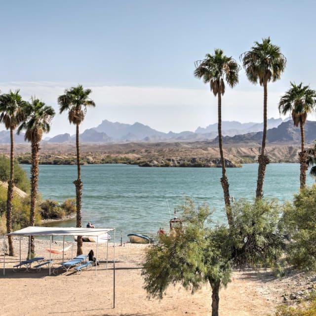 Scenic view of Lake Havasu and the mountains in Lake Havasu City, Arizona