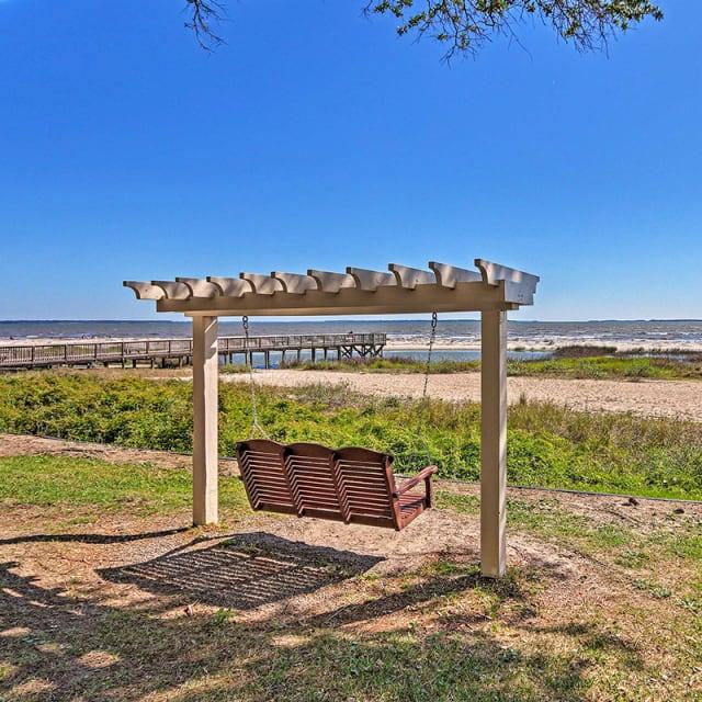 Wooden bench swing near Hilton Head, South Carolina beach