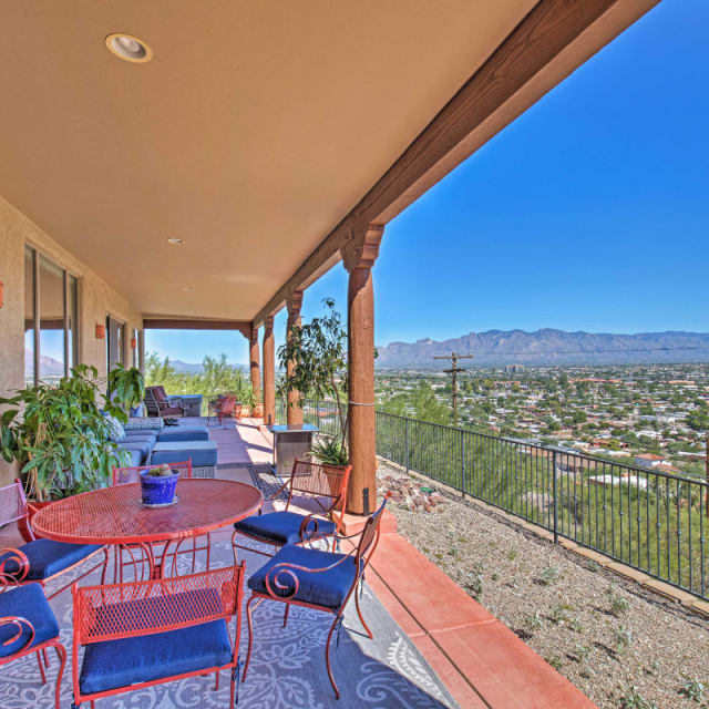 Vacation rental patio with a view of Tucson, Arizona