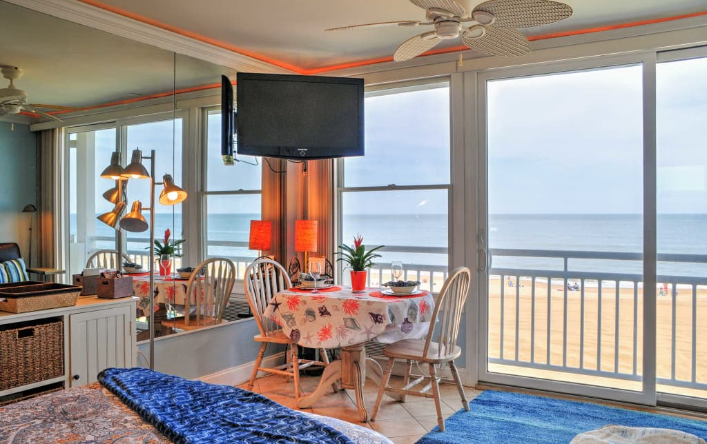 Groovy Oceanfront Va Beach Studio W Views Pool Access Home Interior And Landscaping Fragforummapetitesourisinfo
