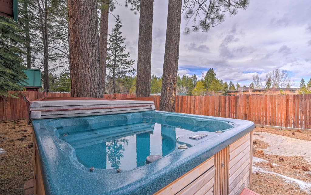 NEW! Central Cabin w/Hot Tub - Walk to Lake Tahoe!