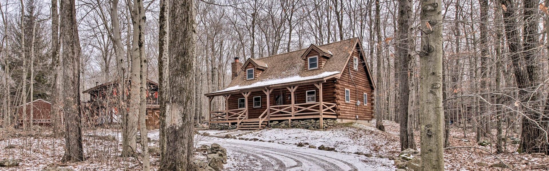 A snowy cabin in the Poconos, PA.