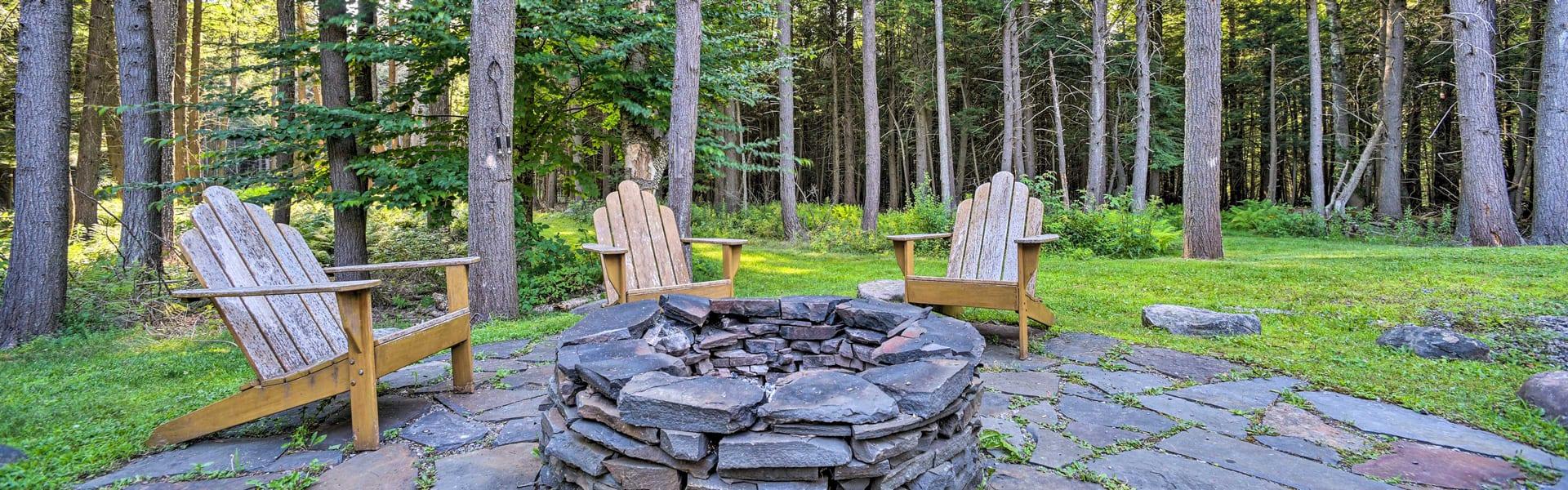 A backyard firepit in the Catskills, NY.