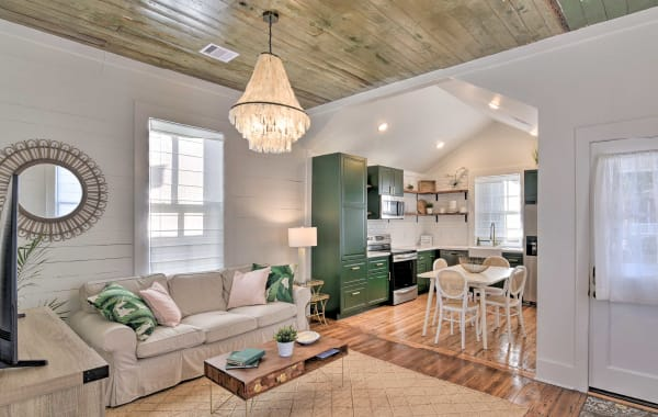Bohemian tiny house for rent with chandelier in Galveston, TX