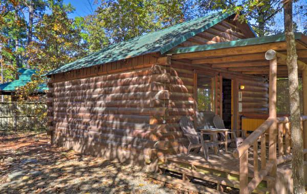 One-room log cabin.