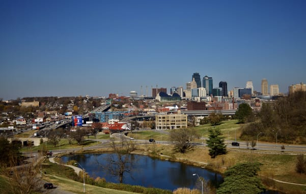 The Kansas City skyline will welcome you on your midwest family road trip.