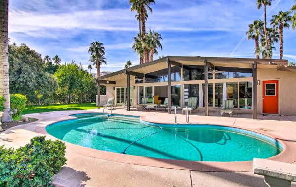Mid-century vacation rental with heated pool