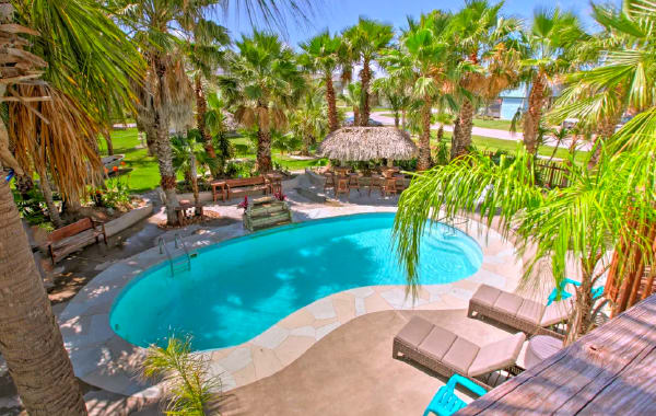 Beachfront private pool at pet-friendly vacation rental