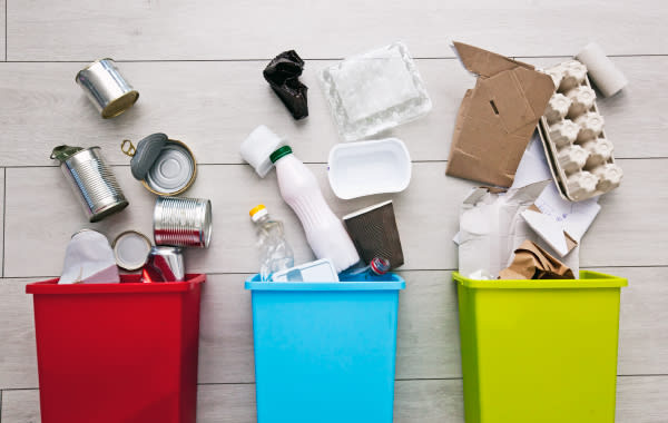 3 different recycling bins for an eco-friendly vacation rental
