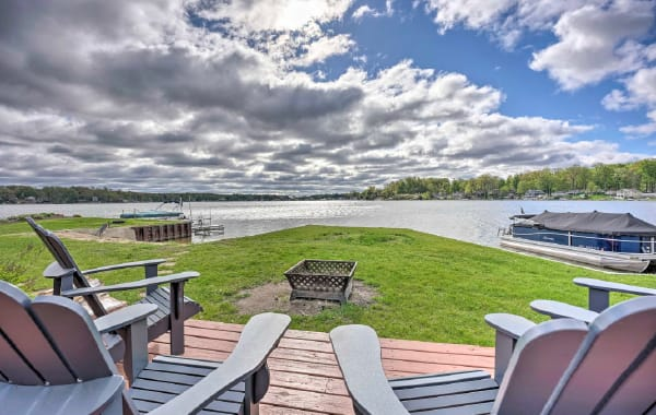 View from a Michigan vacation rental's deck, overlooking a pristine lake