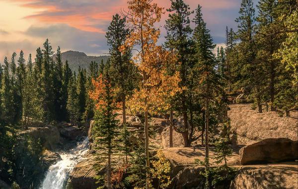 Alberta Falls in Estes Park, Colorado during the fall season