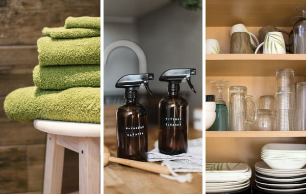 3 panels of images showing vacation rental inventory items like folded towels, cleaning supplies, and dishware