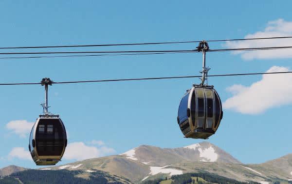 Ski resort gondola in the mountains