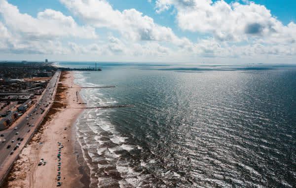 Shoreline and beach in Galveston, TX