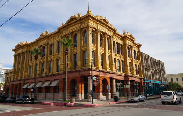 Historic building in downtown Galveston, TX