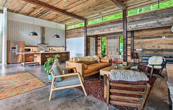 Sitting area in modern wood cabin