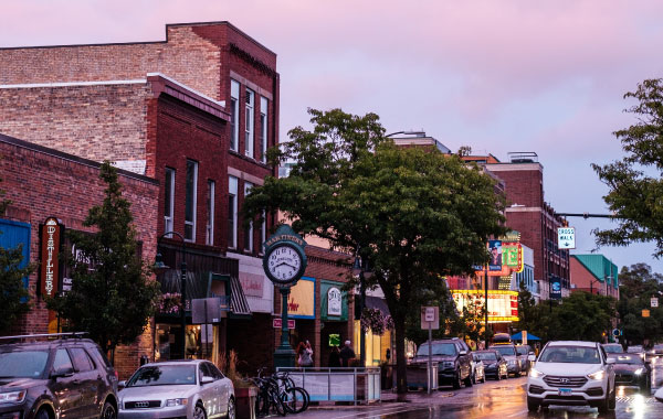 Downtown Traverse City storefronts at night
