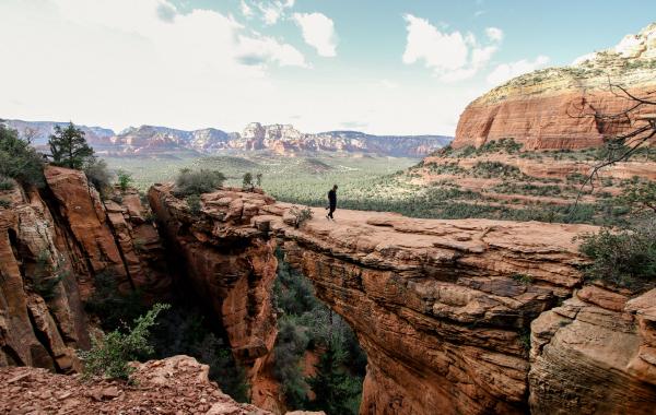 Desert hike across majestic red rocks in Sedona, Arizona