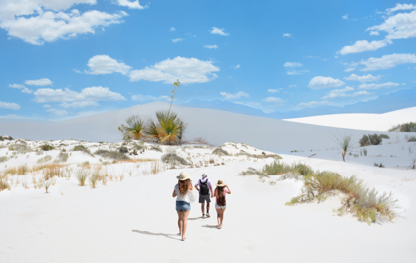 Hikers exploring White Sands National Park