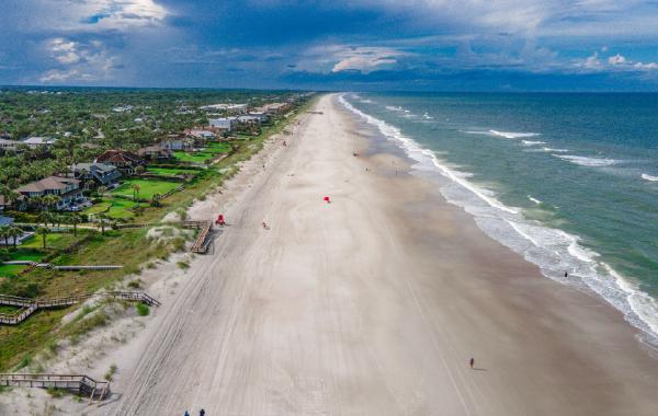 Sandy coastline in Jacksonville Beach, Florida