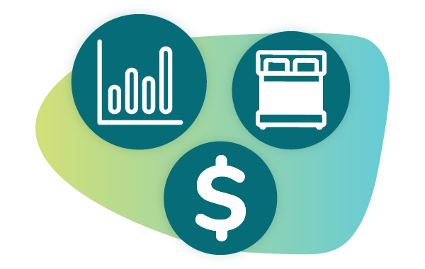 3-icon illustration of a graph, bed, and dollar sign representing revenue management for short-term rentals